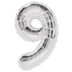 Ballon anniversaire argent 87 cm - Chiffre 9 Déco festive U55759