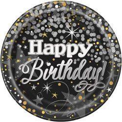 Assiettes jetables x 8 scintillantes Happy Birthday 23 cm Déco festive U58275
