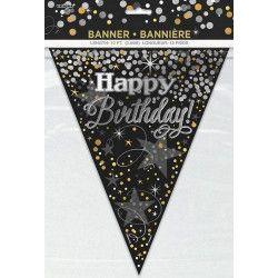 Déco festive, Guirlande fanions scintillante Happy birthday, U58288, 3,80€