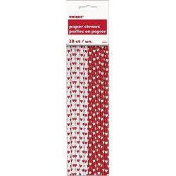 Pailles avec coeurs rouges et blancs x 10 Déco festive U62085