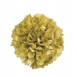 Déco festive, Boule pompon dorée pour déco de salle, U63205, 5,40€