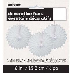 Déco festive, Sachet de 3 éventails décoratifs blancs, U63261, 3,00€