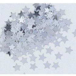 Déco festive, Confettis étoiles argent métallisés, U90371, 2,50€