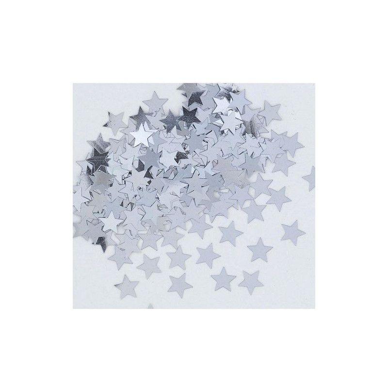Confettis étoiles argent métallisés Déco festive U90371