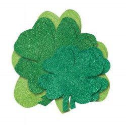Six mini découpes trèfles Saint Patrick Déco festive U90645