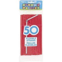 Sachet de 50 pailles flexibles rouges Déco festive U91247