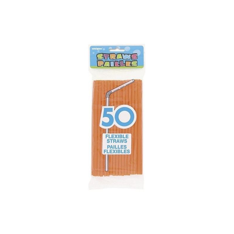 Sachet de 50 pailles flexibles orange Déco festive U91248