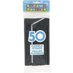 Sachet de 50 pailles flexibles noires Déco festive U91249