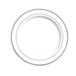 Assiettes plastique x 20 blanches avec liseré argent 19 cm Déco festive V5519LISAR
