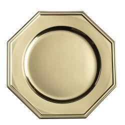 Assiettes octogonales jetables métallisées or 33 cm Déco festive V55OC300OR