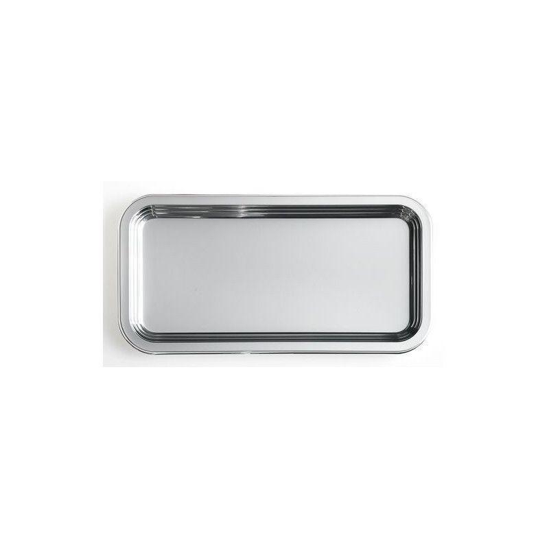 Plat rectangulaire jetable 46x30 cm métallisé argent x 5 Déco festive V55PLR460AR