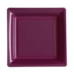 Assiettes carrées jetables aubergine 18 cm par 12 Déco festive V57180AU