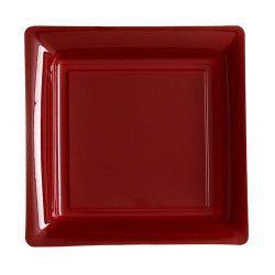 Assiettes carrées x 12 jetables bordeaux 18x18 cm Déco festive V57180BDX