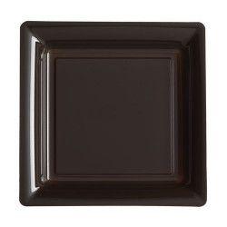 Assiettes carrées jetables chocolat 18 cm par 12 Déco festive V57180CH