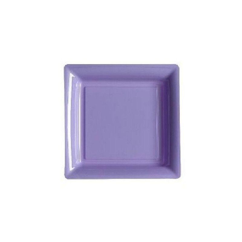 Assiettes carrées jetables lilas 18 cm par 12 Déco festive V57180L