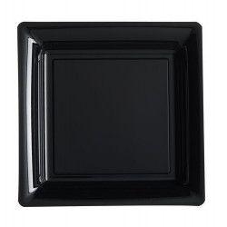 Assiettes carrées x 12 jetables noires 18x18 cm Déco festive V57180N