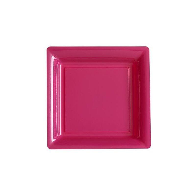 Assiettes carrées x 12 jetables fuchsia 18 cm Déco festive V57180RI
