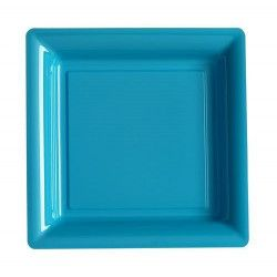 Assiettes carrées x 12 jetables turquoise 18x18 cm Déco festive V57180TQ