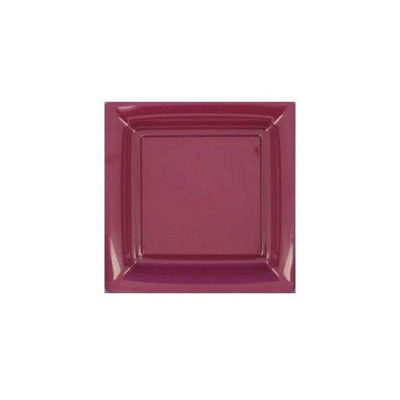Assiettes carrées jetables aubergine 23,5 cm par 12 Déco festive V57235AU