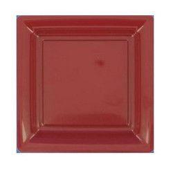 Assiettes carrées jetables bordeaux 23,5 cm par 12 Déco festive V57235BDX