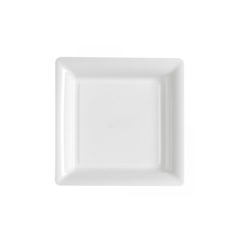 Déco festive, Assiettes carrées x 12 jetables blanches 23,5 cm, V57235BL, 6,90€