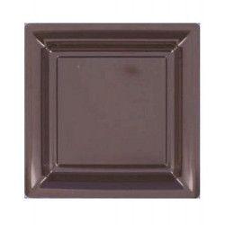 Assiettes carrées jetables chocolat 23,5 cm par 12 Déco festive V57235CH