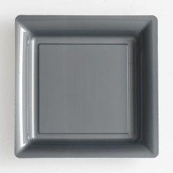 Déco festive, Assiettes carrées x 12 jetables gris argent 23,5 cm, V57235GR, 6,90€