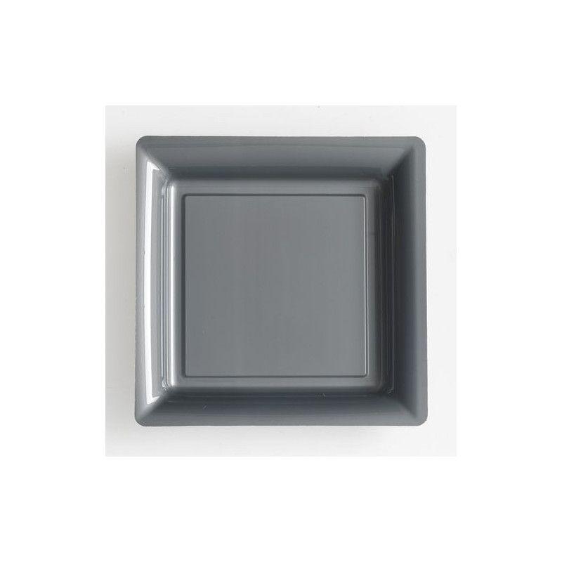 Assiettes carrées x 12 jetables gris argent 23,5 cm Déco festive V57235GR