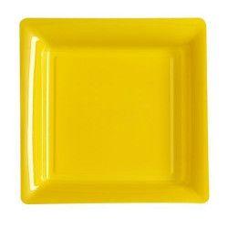 Assiettes carrées jetables jaune provence 23,5 cm par 12 Déco festive V57235JP