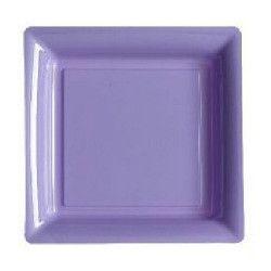 Assiettes carrées jetables lilas 23,5 cm par 12 Déco festive V57235L