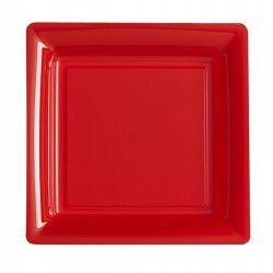 Déco festive, Assiettes carrées x 12 jetables rouges 23,5 cm, V57235RG, 6,90€