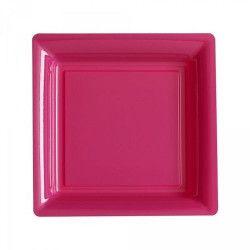Assiettes carrées x 12 jetables fuchsia 23,5 cm Déco festive V57235RI