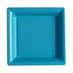 Déco festive, Assiettes carrées x 12 jetables turquoise 23,5 cm, V57235TQ, 6,90€