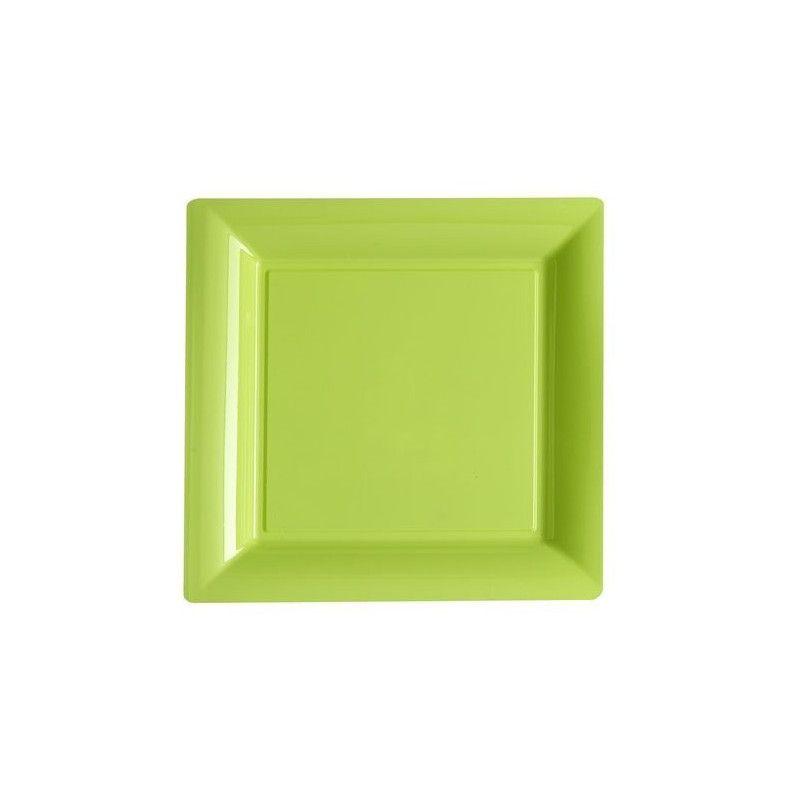 Assiettes carrées jetables vert anis 23,5x23,5 cm par 12 pièces Déco festive V57235VA