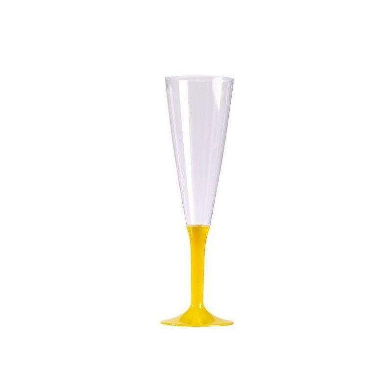 Flutes à champagne plastique pied jaune provence x 10 Déco festive V60FLU.JP