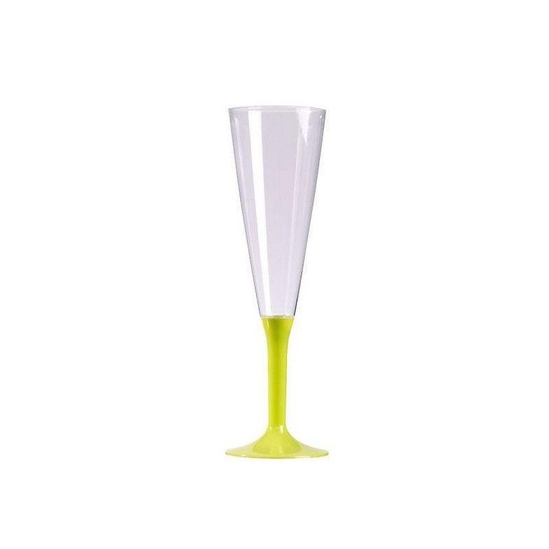 Flutes à champagne plastique pied vert anis x 10 Déco festive V60FLU.VA