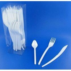 Couverts jetables en plastique blanc x 30 Déco festive V60MENAG.BL