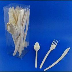 Couverts jetables en plastique ivoire x 30 Déco festive V60MENAG.I
