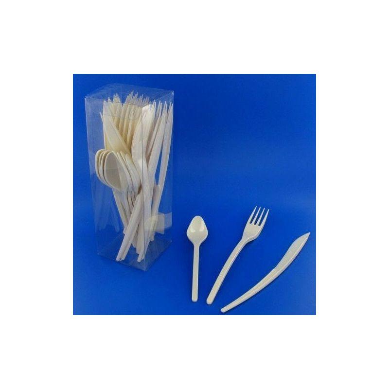 tout neuf 43788 515bd Couverts jetables en plastique ivoire x 30