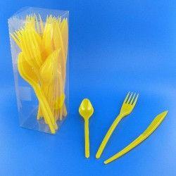 Déco festive, Couverts jetables en plastique jaune provence x 30, V60MENAG.JP, 3,50€