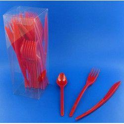 Couverts jetables en plastique rouge x 30 Déco festive V60MENAG.RG