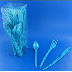 Couverts jetables en plastique turquoise x 30 Déco festive V60MENAG.TQ
