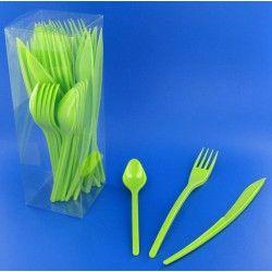 Couverts jetables en plastique vert anis x 30 Déco festive V60MENAG.VA