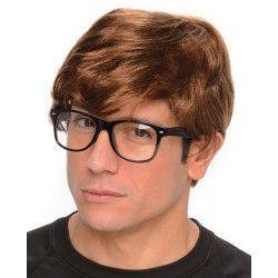 Perruque courte agent secret avec lunettes Accessoires de fête 149403-85026