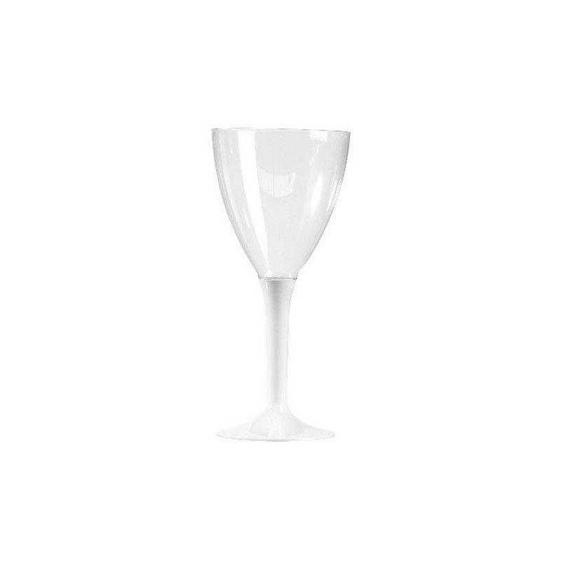 Verres à vin plastique pied blanc x 10 Déco festive V60VIN.BL