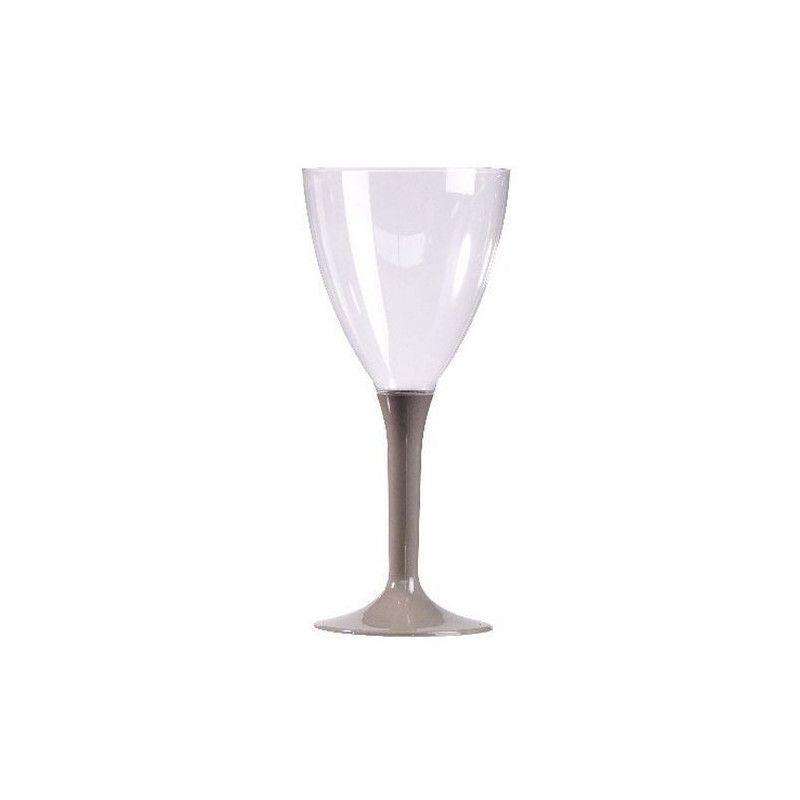 Verres à vin plastique pied gris argent x 10 Déco festive V60VIN.GR