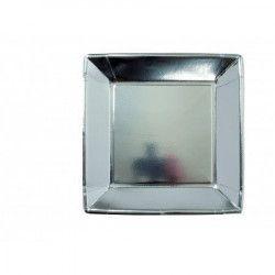 Assiettes carrées x 8 jetables argent 23 cm Déco festive V64230AR