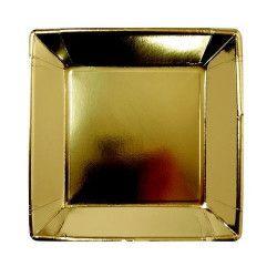 Assiettes carrées x 8 jetables or 23 cm Déco festive V64230OR