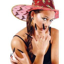 Faux ongles noirs de sorcière x 10 Accessoires de fête 15090