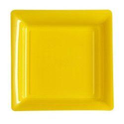 Déco festive, Assiettes carrées x 12 jetables jaune provence 18x18 cm, V57180JP, 3,65€